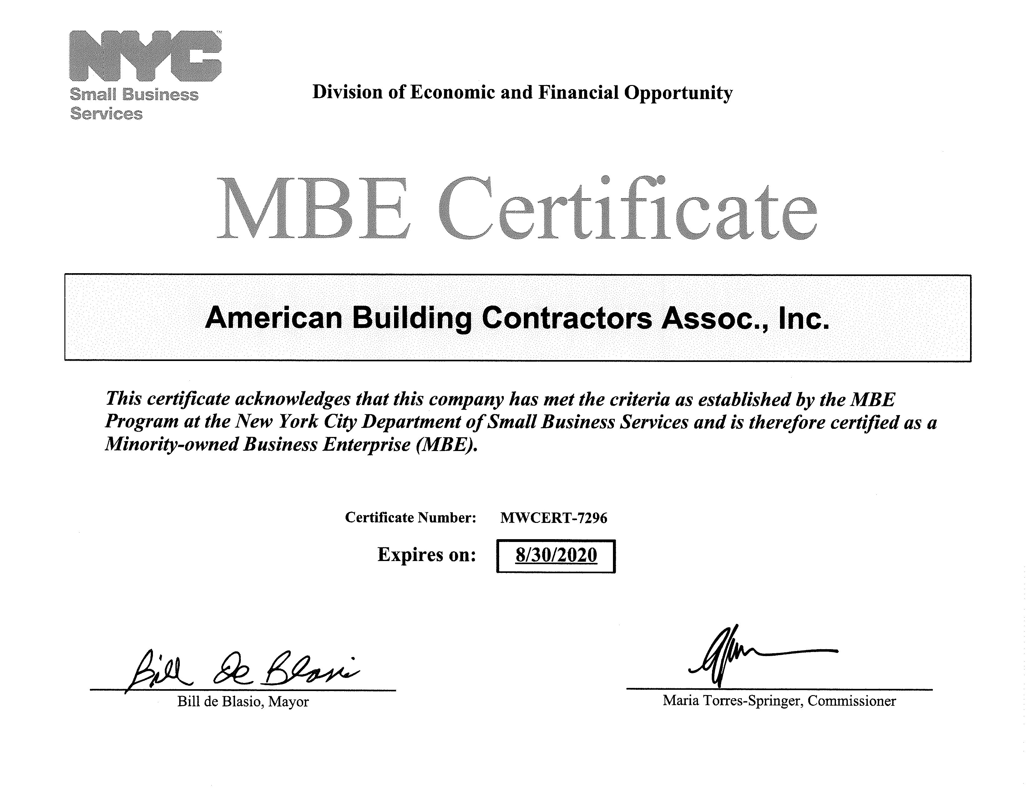 Mbe Certifications Abc Associates